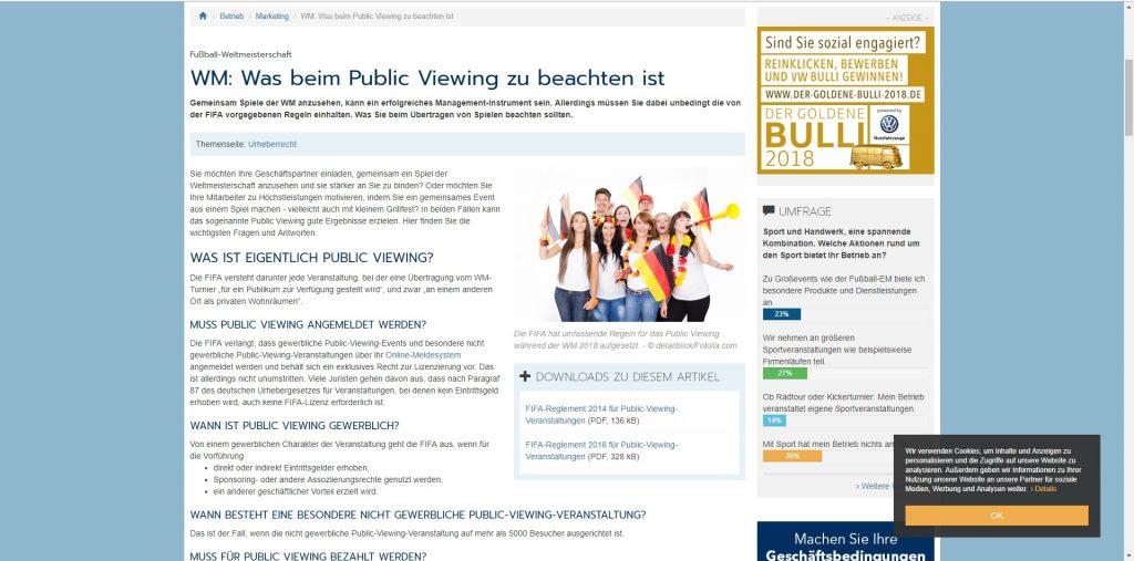 handwerk magazin zum Thema Public Viewing